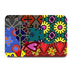 Digitally Created Abstract Patchwork Collage Pattern Plate Mats