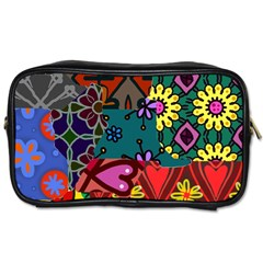 Digitally Created Abstract Patchwork Collage Pattern Toiletries Bag (two Sides)