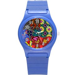 Digitally Created Abstract Patchwork Collage Pattern Round Plastic Sport Watch (s) by Jojostore