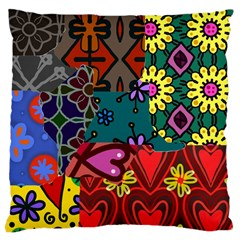 Digitally Created Abstract Patchwork Collage Pattern Large Cushion Case (two Sides)