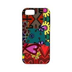 Digitally Created Abstract Patchwork Collage Pattern Apple Iphone 5 Classic Hardshell Case (pc+silicone)