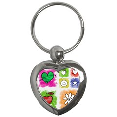 A Set Of Watercolour Icons Key Chains (heart)
