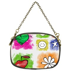A Set Of Watercolour Icons Chain Purse (one Side)