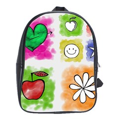 A Set Of Watercolour Icons School Bag (large)