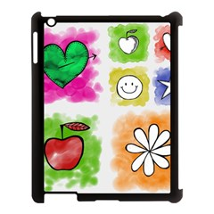 A Set Of Watercolour Icons Apple Ipad 3/4 Case (black)