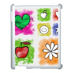 A Set Of Watercolour Icons Apple Ipad 3/4 Case (white) by Jojostore