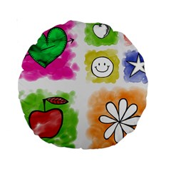 A Set Of Watercolour Icons Standard 15  Premium Round Cushions