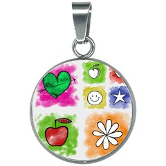 A Set Of Watercolour Icons 20mm Round Necklace