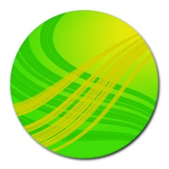 Abstract Green Yellow Background Round Mousepads by Jojostore