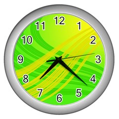 Abstract Green Yellow Background Wall Clock (silver) by Jojostore
