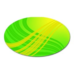 Abstract Green Yellow Background Oval Magnet by Jojostore