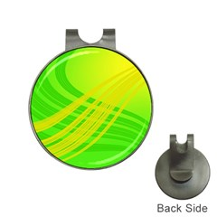 Abstract Green Yellow Background Hat Clips With Golf Markers