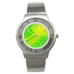 Abstract Green Yellow Background Stainless Steel Watch by Jojostore