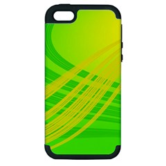 Abstract Green Yellow Background Apple Iphone 5 Hardshell Case (pc+silicone) by Jojostore