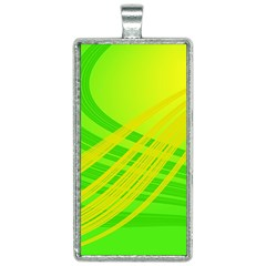 Abstract Green Yellow Background Rectangle Necklace by Jojostore
