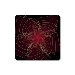 Fractal Red Star Isolated On Black Background Square Magnet by Jojostore
