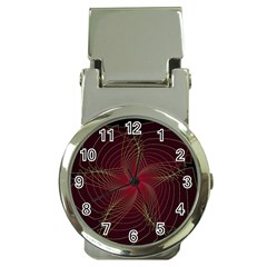 Fractal Red Star Isolated On Black Background Money Clip Watches