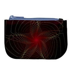 Fractal Red Star Isolated On Black Background Large Coin Purse by Jojostore