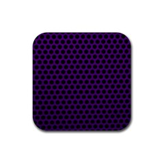 Dark Purple Metal Mesh With Round Holes Texture Rubber Square Coaster (4 Pack)