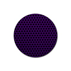 Dark Purple Metal Mesh With Round Holes Texture Rubber Round Coaster (4 Pack)  by Jojostore