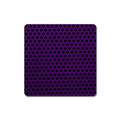 Dark Purple Metal Mesh With Round Holes Texture Square Magnet