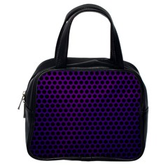 Dark Purple Metal Mesh With Round Holes Texture Classic Handbag (one Side)