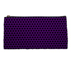 Dark Purple Metal Mesh With Round Holes Texture Pencil Cases by Jojostore