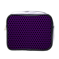 Dark Purple Metal Mesh With Round Holes Texture Mini Toiletries Bag (one Side)