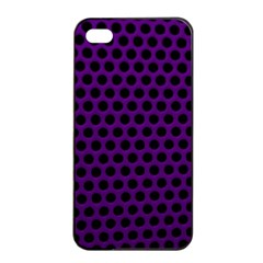 Dark Purple Metal Mesh With Round Holes Texture Apple Iphone 4/4s Seamless Case (black) by Jojostore