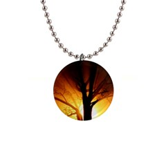 Rays Of Light Tree In Fog At Night 1  Button Necklace by Jojostore