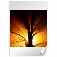 Rays Of Light Tree In Fog At Night Canvas 12  X 18  by Jojostore
