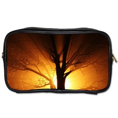 Rays Of Light Tree In Fog At Night Toiletries Bag (one Side)