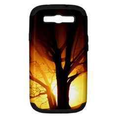 Rays Of Light Tree In Fog At Night Samsung Galaxy S Iii Hardshell Case (pc+silicone)