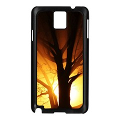 Rays Of Light Tree In Fog At Night Samsung Galaxy Note 3 N9005 Case (black) by Jojostore