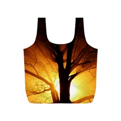 Rays Of Light Tree In Fog At Night Full Print Recycle Bag (s)