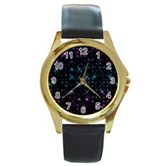 Stars Pattern Seamless Design Round Gold Metal Watch by Jojostore