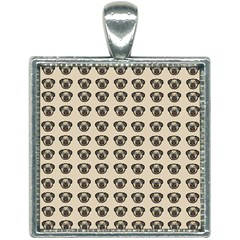 Puppy Dog Pug Pup Graphic Square Necklace by Jojostore