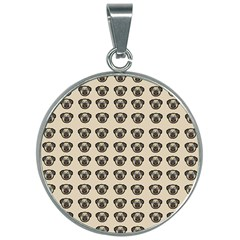 Puppy Dog Pug Pup Graphic 30mm Round Necklace