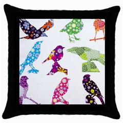 Birds Colorful Floral Funky Throw Pillow Case (black)