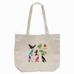 Birds Colorful Floral Funky Tote Bag (cream)