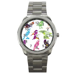 Birds Colorful Floral Funky Sport Metal Watch