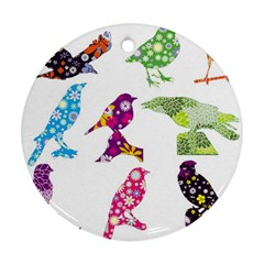 Birds Colorful Floral Funky Round Ornament (two Sides)