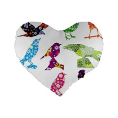 Birds Colorful Floral Funky Standard 16  Premium Flano Heart Shape Cushions by Jojostore