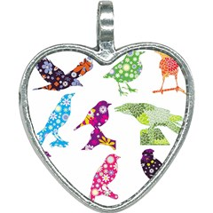 Birds Colorful Floral Funky Heart Necklace by Jojostore