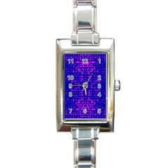 Blue And Pink Pixel Pattern Rectangle Italian Charm Watch by Jojostore