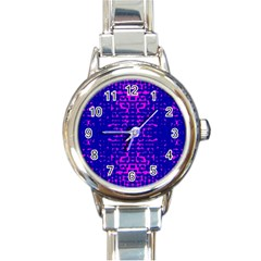 Blue And Pink Pixel Pattern Round Italian Charm Watch by Jojostore