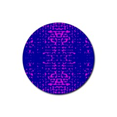 Blue And Pink Pixel Pattern Rubber Round Coaster (4 Pack)