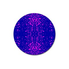 Blue And Pink Pixel Pattern Magnet 3  (round) by Jojostore