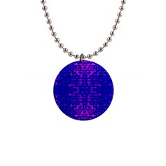 Blue And Pink Pixel Pattern 1  Button Necklace