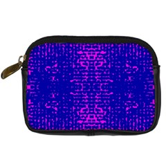 Blue And Pink Pixel Pattern Digital Camera Leather Case by Jojostore